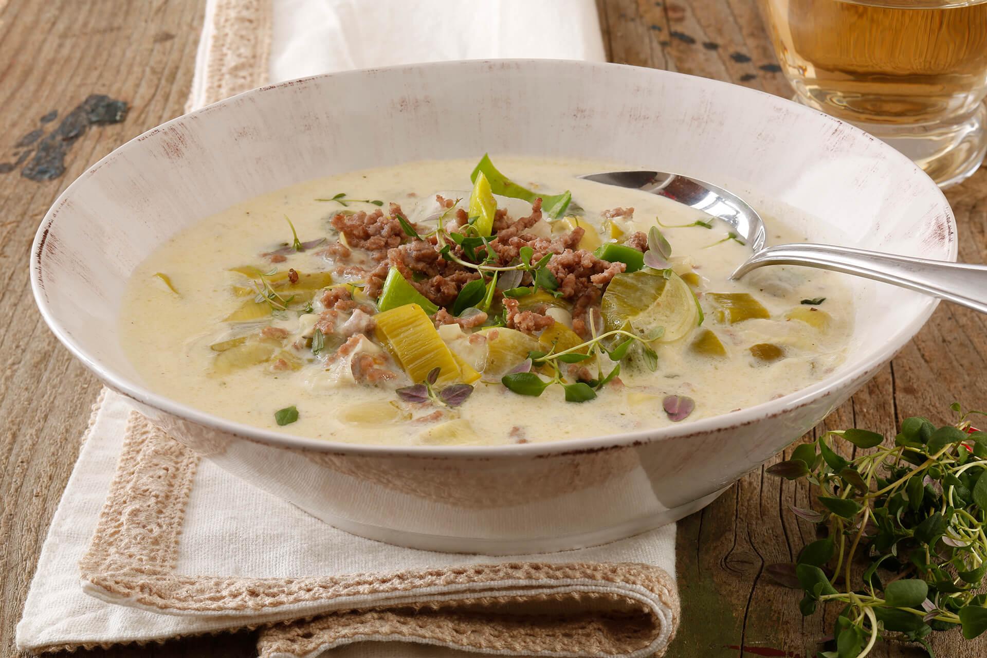 Käse Hackfleisch Lauch Suppe
